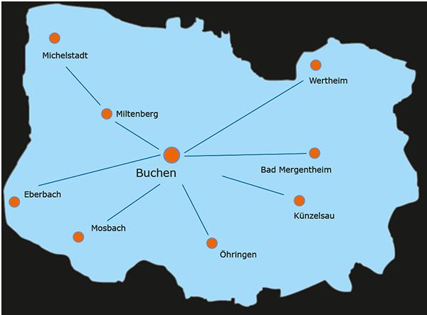 Karte Einzugsgebiet Schadenservice Bischof